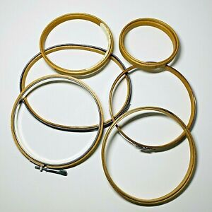 Lot of 6 Vintage Wood and Metal Embroidery Hoops Round Oval Spring Screw Sew