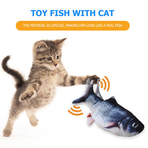 USB Electric Floppy Fish Cat Toy, Realistic Interactive Wiggle Catnip Kicker Toy