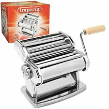 Imperia Pasta Maker Machine - Steel Construction w Easy Lock Dial and Wood Grip