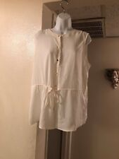 Women;s white sleeveless blouse with gold buttons size L