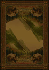 """GRIZZLY bear NATURE 4x6 area rug RUSTIC wildlife CARPET: Actual Size 3'11""""x5'3"""""""