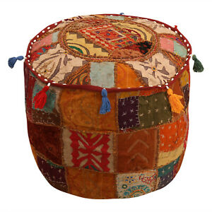 Hippie Multi Patchwork Ottomans Poufs Indian Floor Pillows Round Bedroom Pouffe