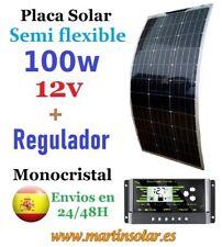 Kit placa panel solar 100w 12v semi flexible + regulador 10ah.