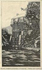 Stampa antica PORTRUSH Ferrovia elettrica sala macchine 1888 Old antique print