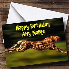 Fast Speedy Cheetah Personalised Birthday Greetings Card