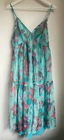 TURQUOISE PINK FLORAL DRESS M LONG TOWIE PARTY GLAM SUMMER FLOATY PRETTY HOLIDAY