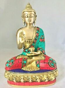 Buddha 8'' Stein Arbeit Medizin Große Budha Messing Schwer Meditation