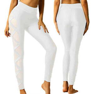 Women's High Waist Yoga Pants Pockets Leggings Mesh Sport Gym Workout Trousers