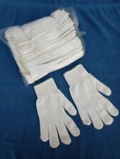 Wolesale Lot of 12 Pairs White 100% Nylon Knit Work Safety Gloves Size Large