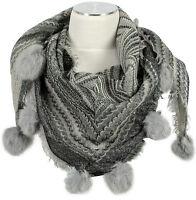 Dreieckstuch Pashmina Schal 100% Wolle wool Fell Bommeln Scarf stole fur rabbit