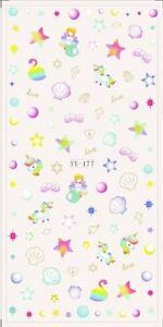 Nail Art Water Decals Stickers Transfers Unicorns Mermaid Stars Sea Shells YE177