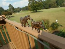 """A Pair Of Hand Carved Wooden Zebras - 6"""" & 7 1/2"""" Long -From Kenya"""