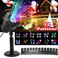 LED Moving Projector Light Outdoor Christmas Landscape Garden Lamp 12 Pattern