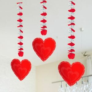 RED HEART HANGING DECORATIONS VALENTINES DAY / ANNIVERSARY / WEDDING PARTY