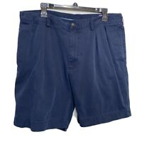 Polo Ralph Lauren Sz 36 Navy Blue Chino Shorts Mens Cotton Pleated Classic Fit