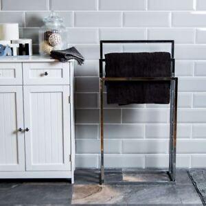 Three Tier Towel Holder Free Standing Chrome Bathroom Rail Rack By Home Discount