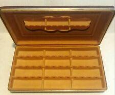 Vintage Earring Holder Case Hardshell Vinyl Original Mirror Holds 36 Pairs