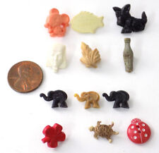 12 Small Vintage Figural Plastic Buttons Animals Soda Bottle Sphinx