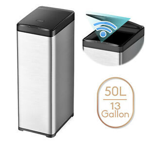 13 Gallon Slim Trash Can Stainless Steel Touchless Motion Sensor Soft Close 50L