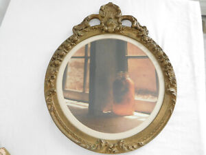 """21""""x17"""" Antique GESSO WOOD Picture Round FRAME with CROWN TOP vintage ant. gold"""