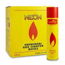 NEON ULTRA REFINED BUTANE GAS - FILTERED LIGHTER REFILL w/5 Adapters - FAST SHIP