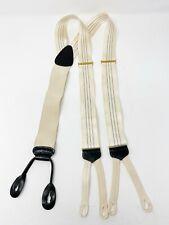 Trafalgar Ltd. Men's Suspenders White Silk Pinstripe with Leather Parts