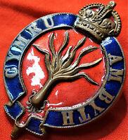 ORIGINAL PRE WW1 ERA BRITISH ARMY WELSH GUARDS OFFICERS PUGARE UNIFORM CAP BADGE