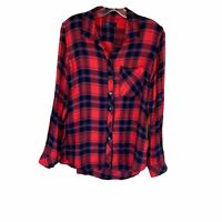 Gap Red Flannel Plaid Button Up Shirt Long Sleeve Soft Womens Size Small V Neck