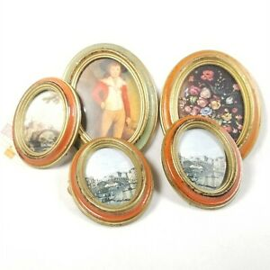 Vintage Victorian Pictures Frames Oval Plastic Wall decor lot of 5