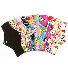 "5PC 10"" Reusable Washable Bamboo Charcoal Cloth Menstrual Sanitary Pads"