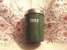 "Vtg GRANITE WARE THEE TEA CANISTER Baked Enamel on Steel DUTCH 6 1/4x4"""