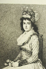 Grabado c1874 Los jóvenes niña pintado con rosa ap Goya grabador Hedouin sc
