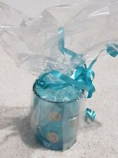 LOVELY TEAL GREEN GLASS GOLD SWIRL VOTIVE TEALIGHT CANDLE HOLDER WRAPPED GIFT