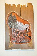 Cabin Art Buck deer hunting lodge leather rustic wall art