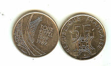 SUPERBE PIECE COMMEMORATIVE DE 5 FRANCS TOUR EIFFEL 1989