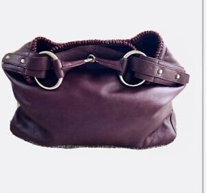 Gucci Vintage Handbag Burgundy/maroon/fushia XL CUSTOM Horsebit Buckle