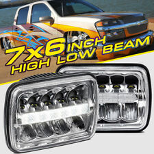 "PAIR 7X6"" 5X7"" 45W High Low Beam DRL CREE LED Headlight Bulb Clear Sealed H4 HID"