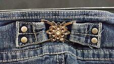 """Womens Juniors """"Give me 5IVE"""" Super Skinny Dark Bling Gem Pocket Jeans Size 3"""