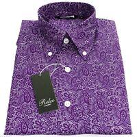 Purple Paisley Men's Shirt Vintage Design -100% Cotton Relco size S - 3XL