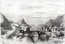 DAUPHINÉ - Porte du DIOIS: PONTAIX & RUINES du CHÂTEAU - Gravure 19e (Girardet)