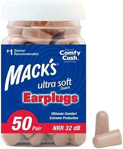Mack's Ultra Soft Foam Earplugs, 50 Pair - 32dB Highest Macks Ear Plugs