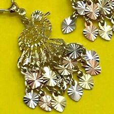 """GOLD peacock Chandelier Earring 14k  Filigree Gypsy long dangle 1.80"""""""