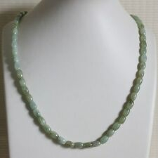 100% Natural (Grade A) Untreated Icy Light Green Jadeite JADE Bead Necklace #165