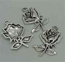 P1206 10pc Tibetan Silver roses Charm Beads Pendant accessories wholesale