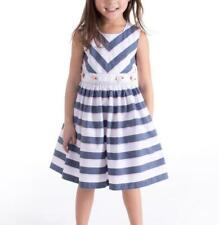 BONNIE JEAN® Little Girl's 5 Chambray & White Striped Dress NWT $55
