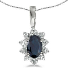 14k White Gold Oval Sapphire And Diamond Pendant (Chain NOT included)