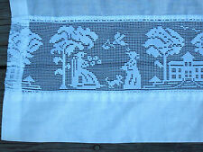 Vintage Pair of Curtains Net Lace Figural of Victorian Couple and Dog in Town