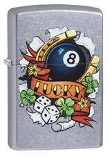 Zippo 29604, Fortune & Luck Symbols, Street Chrome Finish Lighter, Full Size