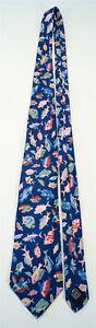 Vintage 100% Silk Gucci Italy Men's Necktie/Tie Multicolor Fish on Blue