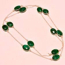 SAKOTA MINES EMERALD FACETED GLAMOURS LOOK .925 SILVER JEWELRY NECKLACE 36""